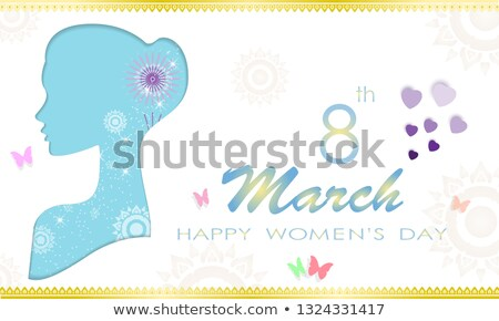 Womens Day 8th march  woman head paper cut card Stock photo © cienpies
