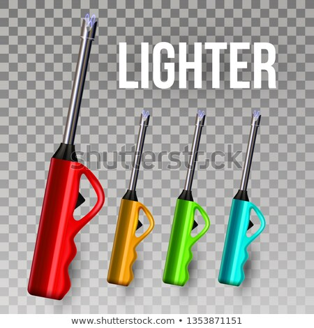 Lighter Vector. Ignite Item. Souvenir Gift. Burning. 3D Realistic Lighter Long Icon. Illustration Stock photo © pikepicture
