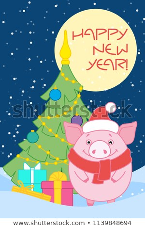 New Year Pigs with Gift Boxes in Hat and Scarf Stock photo © robuart
