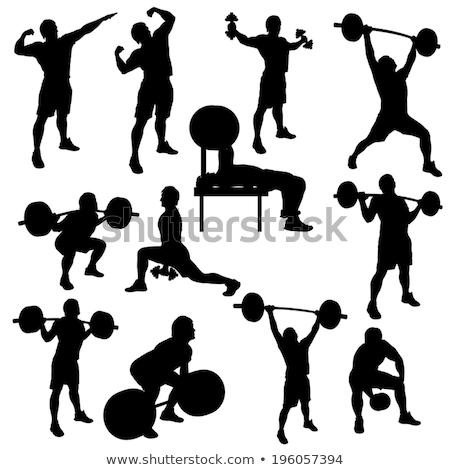 Sziluett súlyemelés illusztráció fitnessz háttér művészet Stock fotó © bluering