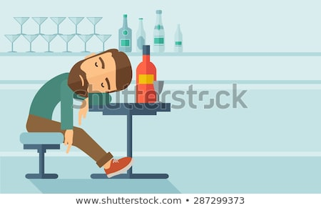 Drunk man fall asleep in the pub. Flat vector illustration Stock photo © makyzz