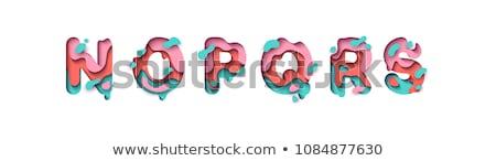 Colorful paper cut out font Letter Q 3D Stock photo © djmilic