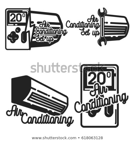 Vintage airconditioning badges ontwerp communie Stockfoto © netkov1