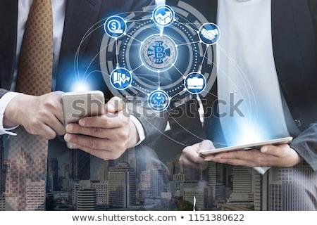 交換 電話 携帯 アプリケーション bitcoinの 市場 ストックフォト © MarySan