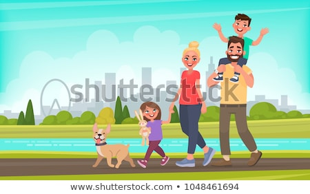 Mother and Kid Walking Vector, Woman in City Park Stock photo © robuart