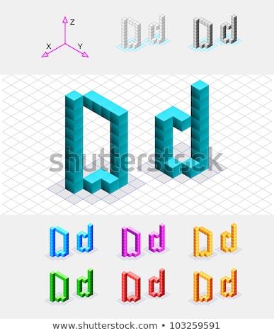 Cubo grade letra d 3D 3d render ilustração Foto stock © djmilic