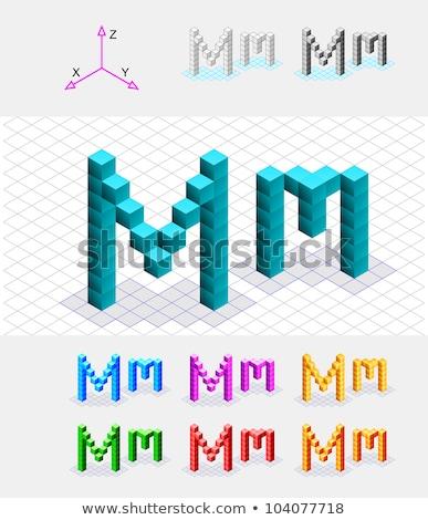 Stok fotoğraf: Cube Grid Letter M 3d