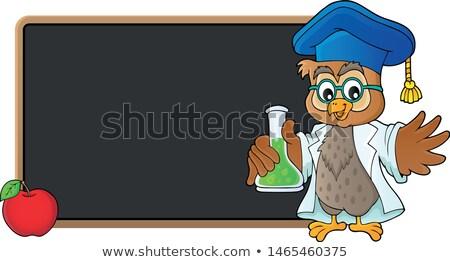 Bagoly tanár vegyi flaska boldog gyümölcs Stock fotó © clairev