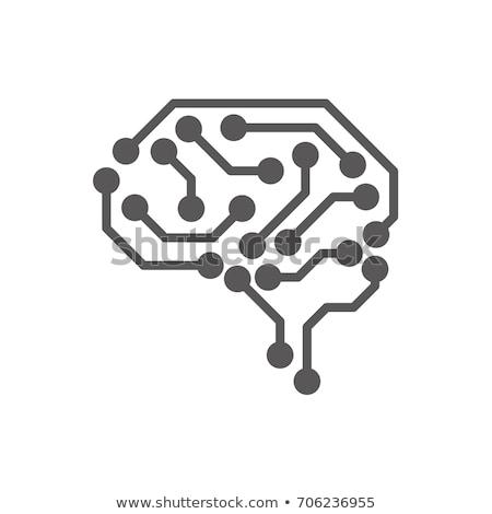 искусственный интеллект мозг вектора знак икона тонкий Сток-фото © pikepicture