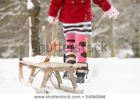 Close Up Of Girl Pulling Sledge Through Winter Landscape Stock photo © monkey_business