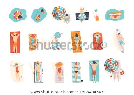 Człowiek kobieta gry nadmuchiwane piłka strój kąpielowy Zdjęcia stock © robuart