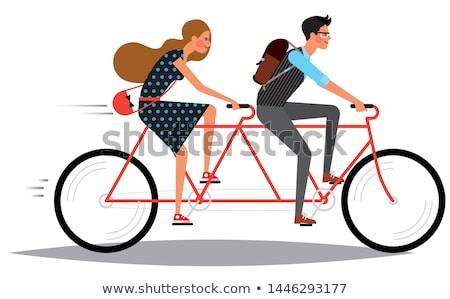 Pár emberek lovaglás tandem bicikli vektor Stock fotó © robuart