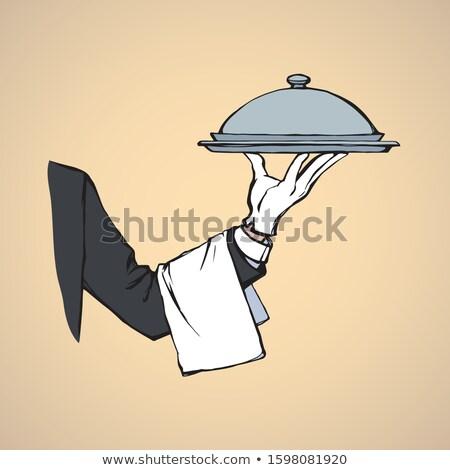 strony · kelner · celu · ilustracja · ręce - zdjęcia stock © robuart