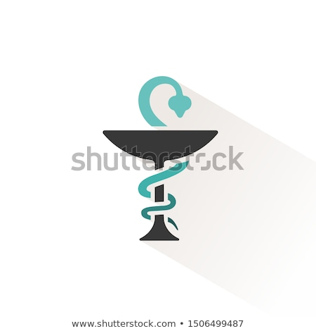 Pharmacy symbol with chalice and snake. Flat icon with beige shade. Vector illustration Stock photo © Imaagio