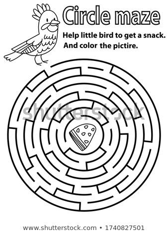 Stock fotó: Gyerekes · állateledel · puzzle · labirintus · vektor · sablon