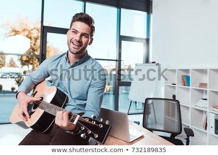 Stock foto: Jungen · gut · aussehend · Geschäftsmann · spielen · Gitarre · Büro
