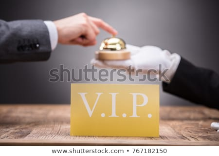 Vip cartão pessoa serviço sino dourado Foto stock © AndreyPopov