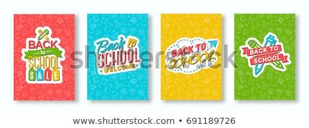 kleurrijk · terug · naar · school · onderwijs · cartoon · gebouw · schoolbus - stockfoto © cienpies
