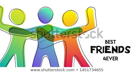 Legjobb barátok kártya színes pálcikaember emberek barátság Stock fotó © cienpies