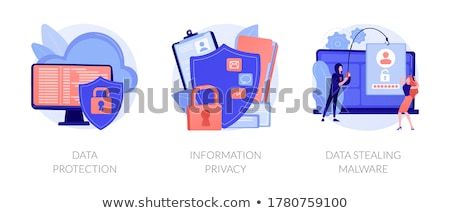 Computer privacy protection metaphor flat vector illustration Stock photo © Decorwithme