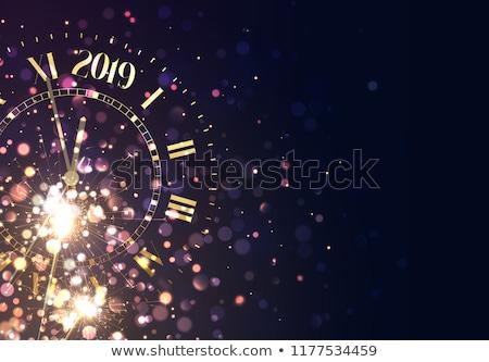 Vidám karácsony boldog új évet üdvözlőlap római óra Stock fotó © inkoly