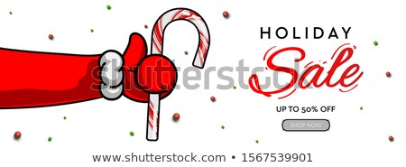 holiday sale horizontal banner santas claus hand thumbs up symbol icon with candy cane vector ill stock photo © ikopylov