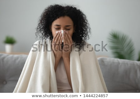 sick woman in blanket coughing at home Stock photo © dolgachov