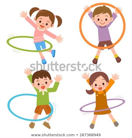Cartoon boy with a hula hoop Stock photo © bennerdesign