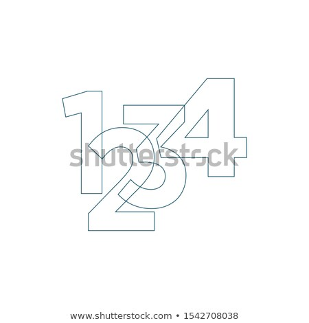 Mathematics and calculation linear icon with 1 2 3 4 digits. Vector illustration for presentation, r Stock photo © kyryloff