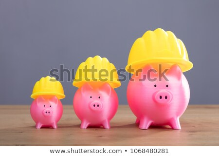 Close-up Of Piggybank With Hard Hat Stock photo © AndreyPopov