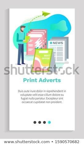 Cartaz o melhor oferecer jornal anúncio anúncio Foto stock © robuart