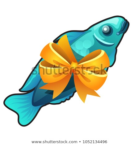 A souvenir in the form of fish tied with orange ribbon bow isolated on white background. Vector cart Stock photo © Lady-Luck