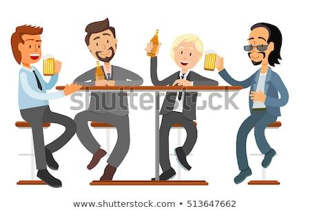 Lächelnd männlich Freunde trinken Bier Veröffentlichung Stock foto © robuart