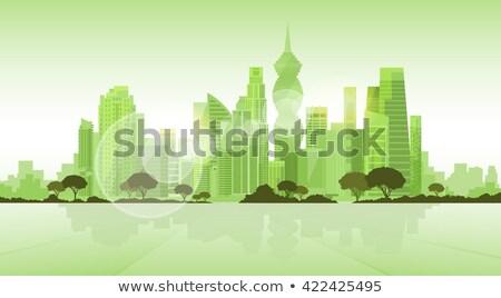 Abstrakten Panama Skyline Farbe Gebäude Geschäftsreise Stock foto © ShustrikS