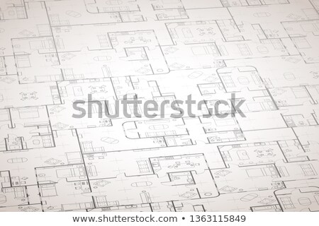 Complicated white house floor plan with interior details on construction blueprint scheme, wide deta Stock photo © evgeny89