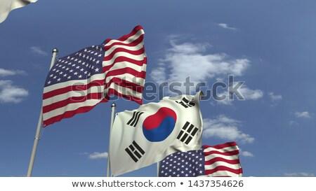 Veel vlaggen Zuid-Korea business hemel straat Stockfoto © galitskaya