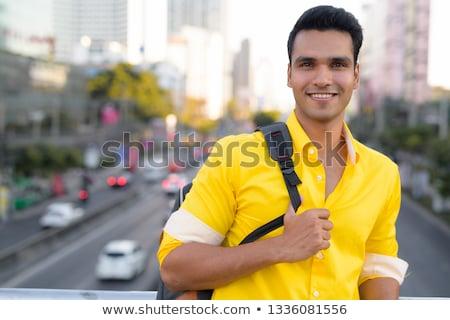 улыбаясь парень желтый пешеходный мост человека город Сток-фото © Paha_L
