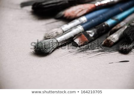 ecset · olaj · színek · fából · készült · paletta · absztrakt - stock fotó © homydesign