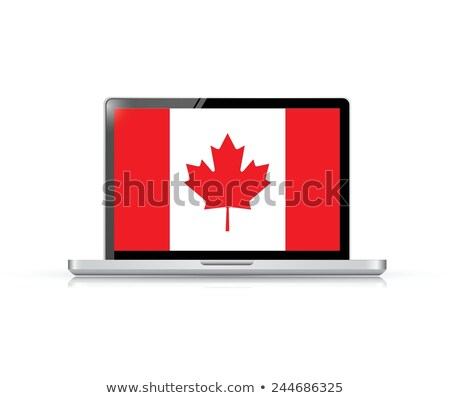 Hands With National Flag On Computer Tablet Pc Vector Photo stock © alexmillos