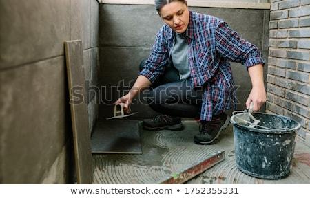 женщины каменщик женщины работник кирпичных белый Сток-фото © photography33
