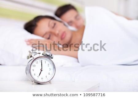 fehér · társalgó · ezüst · ébresztőóra · nő · sekély - stock fotó © candyboxphoto