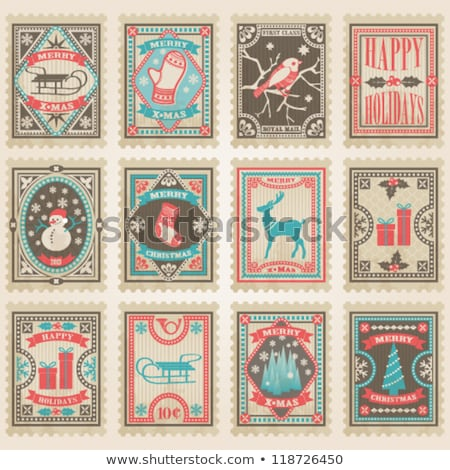 collection of vector christmas vintage postage stamps stock photo © orson