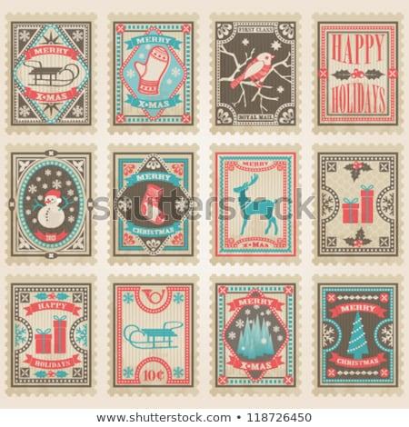 wektora · retro · vintage · znaczków · czerwony · jakości - zdjęcia stock © orson