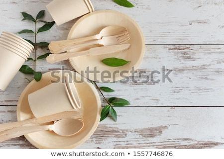 одноразовый · блюд · белый · пластиковых - Сток-фото © pedrosala