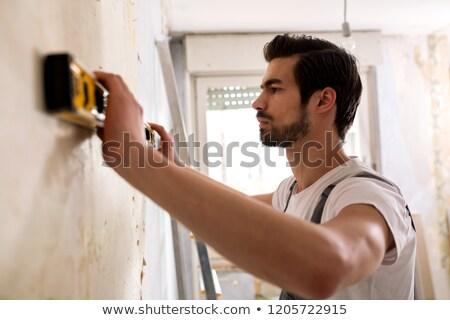 Uwięzione pracownik budowlany budowy metal internetowych pracownika Zdjęcia stock © photography33