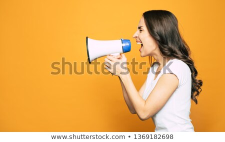 Portrait of someone shouting through a megaphone in a woman's ears Stock photo © wavebreak_media