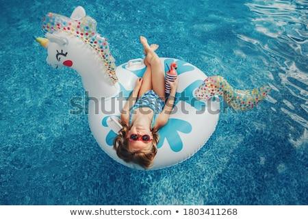 かなり · スイマー · 立って · プール · 笑みを浮かべて · カメラ - ストックフォト © pressmaster