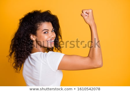 Armed strong beautiful girl Stock photo © acidgrey