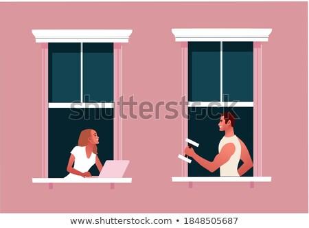 homem · calção · bom · mulher · moço · isolado - foto stock © acidgrey