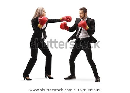 empresária · boxe · mulher · de · negócios · câmera · pronto · lutar - foto stock © photography33